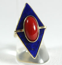 9ct Yellow Gold Momo Coral and Lapis Lazuli Diamond Cocktail Ring