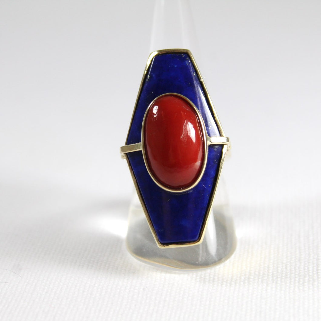 9ct Yellow Gold Momo Coral and Lapis Lazuli Cocktail Ring