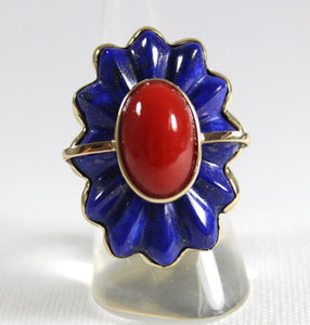 9ct Yellow Gold Momo Coral and Ridged Lapis Lazuli Floral Cocktail Ring