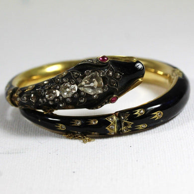 Antique Black Enamel, Ruby and Diamond Snake Yellow Gold Bangle