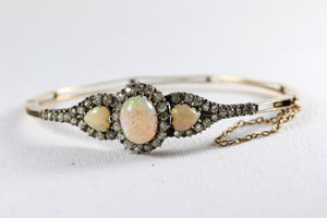 Antique 18ct Yellow Gold Opal and Diamond Bangle