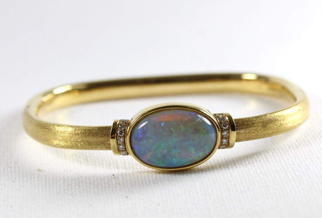 Modernist Brushed 18ct Yellow Gold Solid Opal and Diamond Bangle