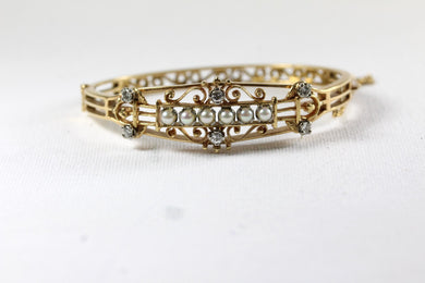 Victorian Original 14ct Yellow Gold Seed Pearl and Diamond Bangle