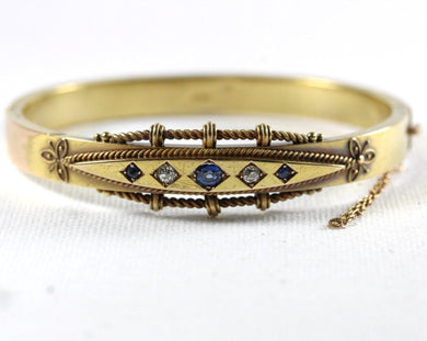 Antique 15ct Yellow Gold Sapphire and Diamond Bangle