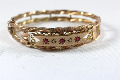 Antique 9ct Rose Gold Red Spinel and Diamond Bangle