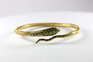 Egyptian Revivalist 22ct Yellow Gold Engraved Turquoise Snake Bangle