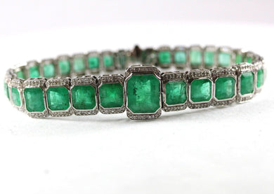 18ct White Gold Natural Colombian Emerald and Diamond Bracelet