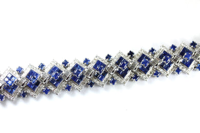 Art Deco Style 14ct White Gold Sapphire and Diamond Geometric Bracelet