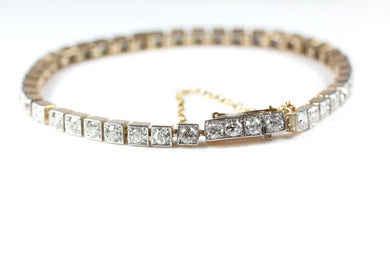 Vintage 15ct Two Tone Gold Old Cut Diamond Tennis Bracelet