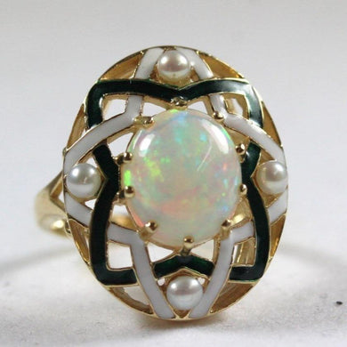 9ct Yellow Gold Opal, Seed Pearl and Enamel Cocktail Ring