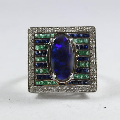Art Deco Style 9ct White Gold Black Opal, Sapphire, Emerald And Diamond Cocktail Ring