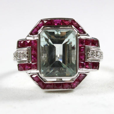 Art Deco Style 9ct White Gold Bezel Set Aquamarine, Ruby and Diamond Cocktail Ring
