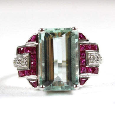 Art Deco Style 9ct White Gold Claw Set Aquamarine, Ruby and Diamond Cocktail Ring