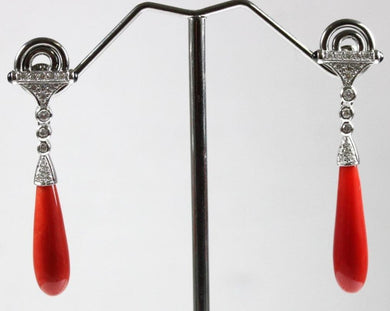 9ct White Gold Momo Coral, Black Onyx and Diamond Drop Earrings