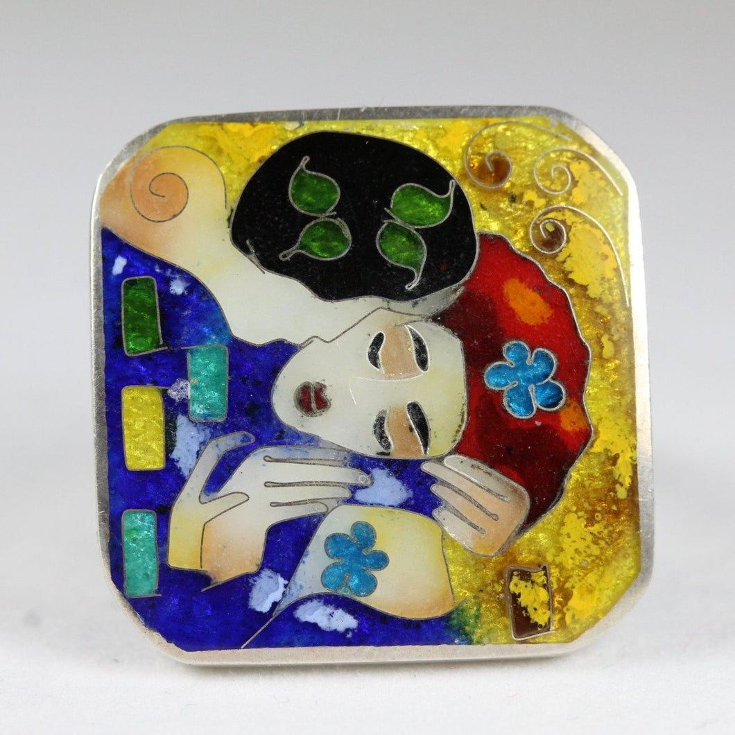 Sterling Silver Handmade Enamel Blue Kiss Ring