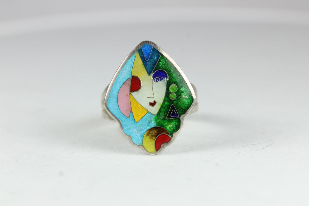 Handmade Sterling Silver Picasso Style Ridged Enamel Ring