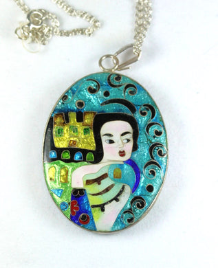 Handmade Double Sided Sterling Silver Enamel Picasso/Klimt Pendant
