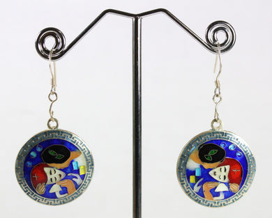 Handmade Sterling Silver Blue Enamel Klimt Kiss Drop Earrings