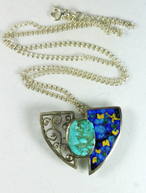 Handmade Sterling Silver Enamel and Turquoise Pendant/Brooch