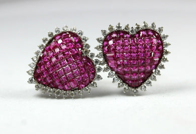 Sterling Silver Synthetic Ruby and CZ Heart Earrings