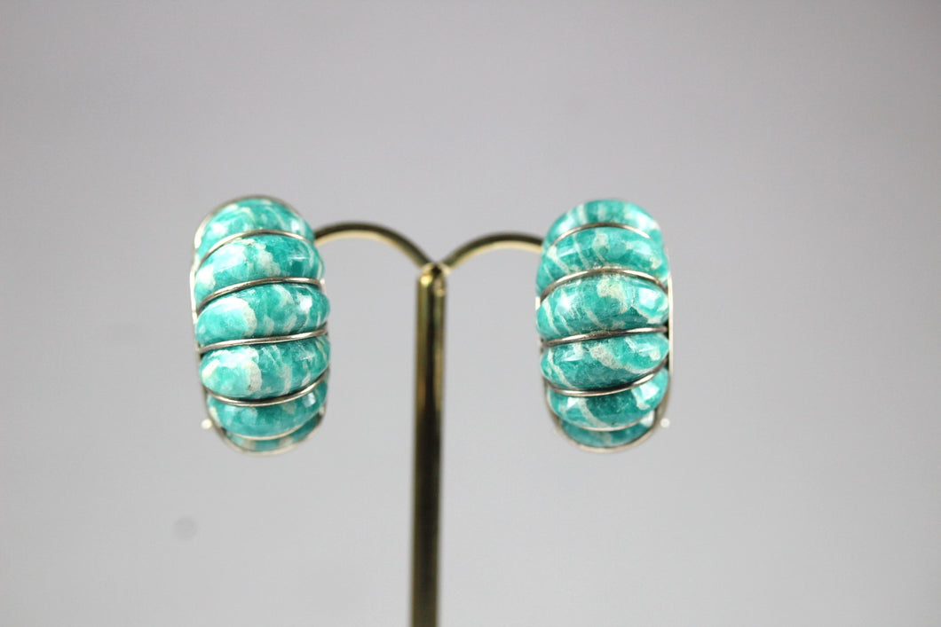Sterling Silver Ridged Amazonite Earrings