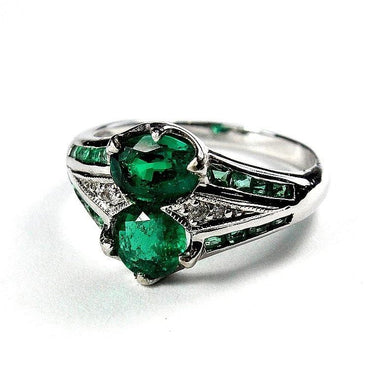 9ct White Gold Twin Emerald and Diamond Dress Ring