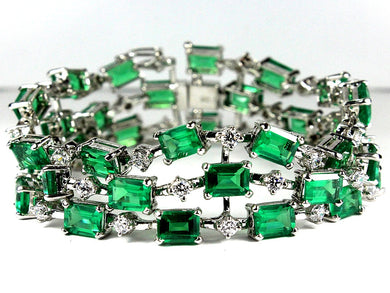 Sterling Silver Green Crystal and Cubic Zirconia Bracelet