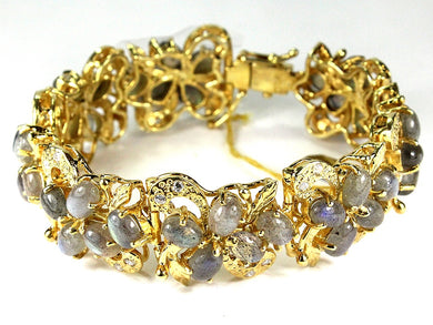 Sterling Silver Gold Plate Labradorite and Crystal Bracelet