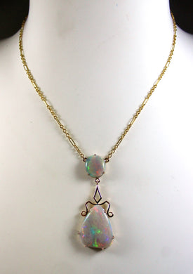 9ct Yellow Gold Australian Solid Opal Pendent