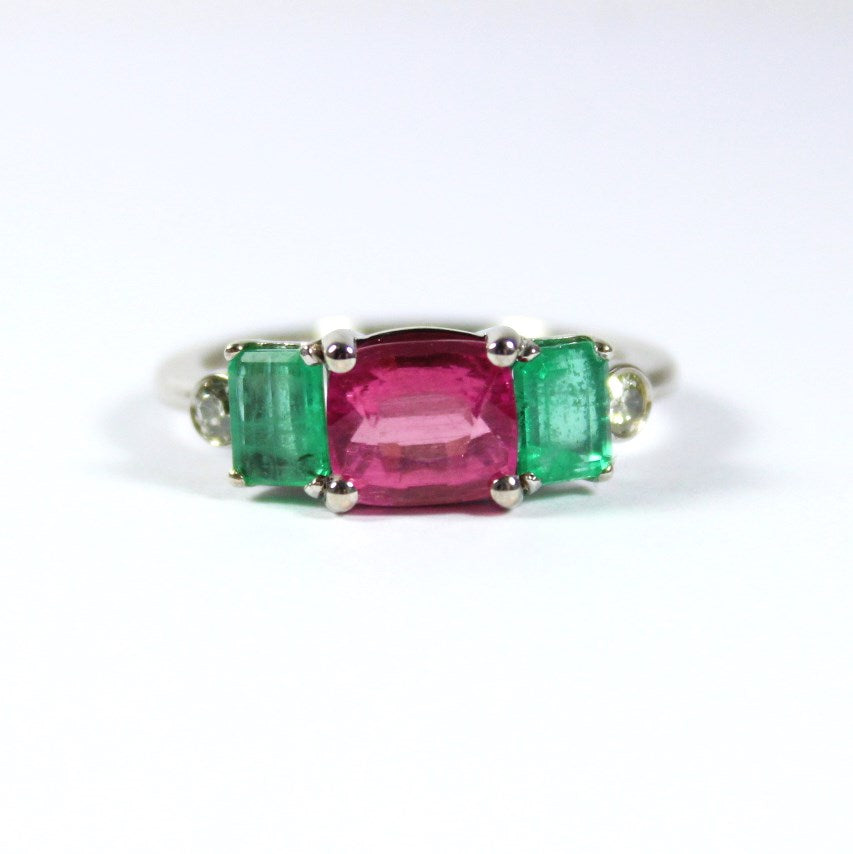 9ct White Gold Pink Tourmaline, Emerald and Diamond Ring