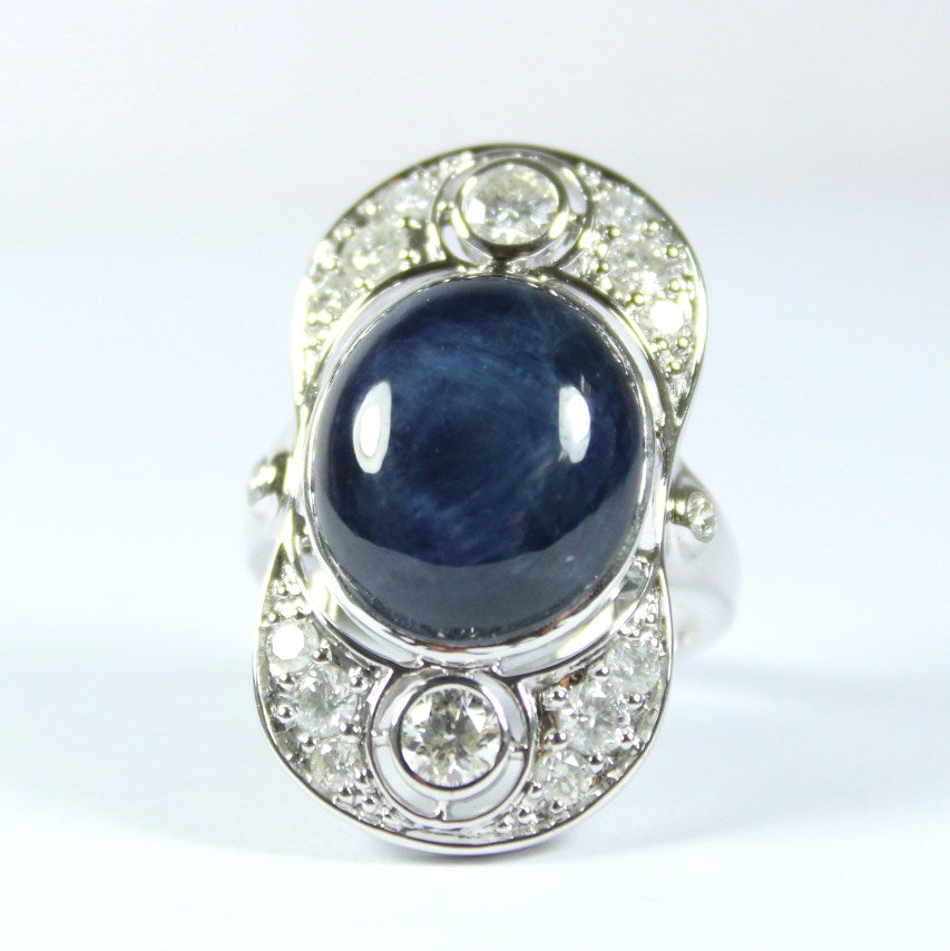 9ct White Gold Cabochon Star Sapphire and Diamond Cocktail Ring