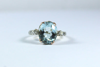 Vintage 18ct Yellow Gold Aquamarine and Diamond Ring