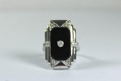 Deco Style 9ct White Gold Onyx and Diamond Cocktail Ring