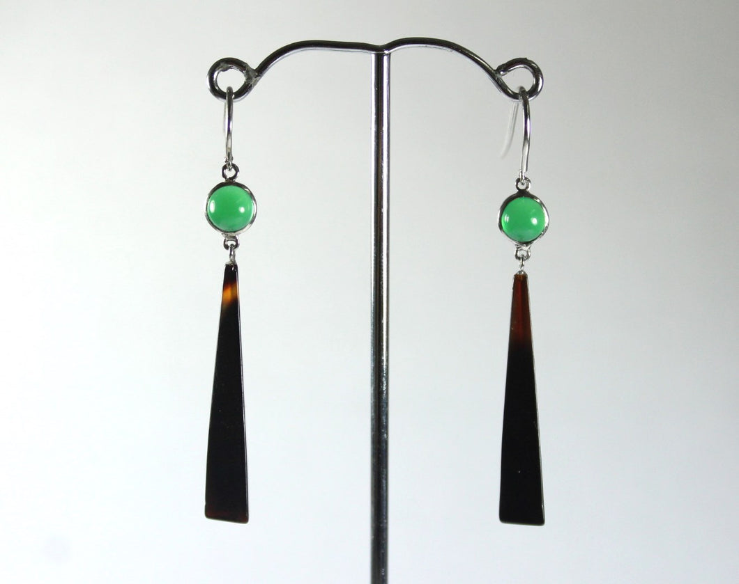 Sterling Silver Tortoiseshell and Chrysoprase Drop Earrings