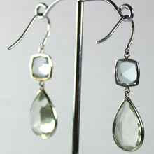 9ct White Gold Aquamarine and Green Citrine Drop Earrings