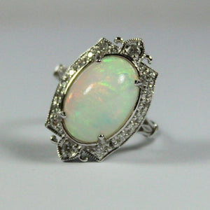 9ct White Gold 3ct Ethiopian Opal and Diamond Ring