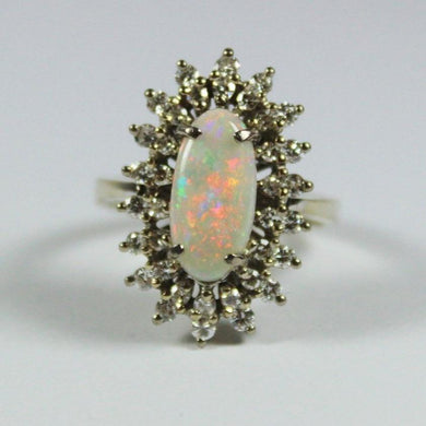 Vintage 18ct Yellow Gold Opal and Diamond Dress Ring