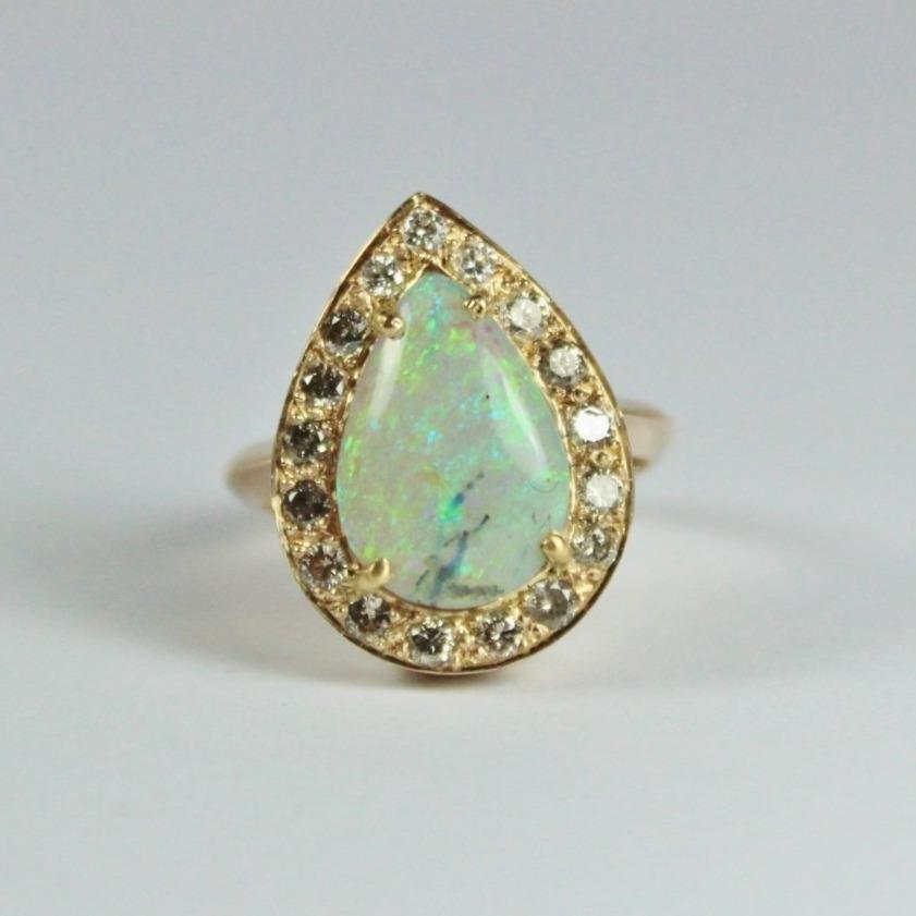 9ct Rose Gold Pear Shaped Opal and Diamond Ring