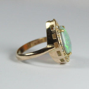 9ct Rose Gold Pear Shaped Solid Opal and Diamond Ring