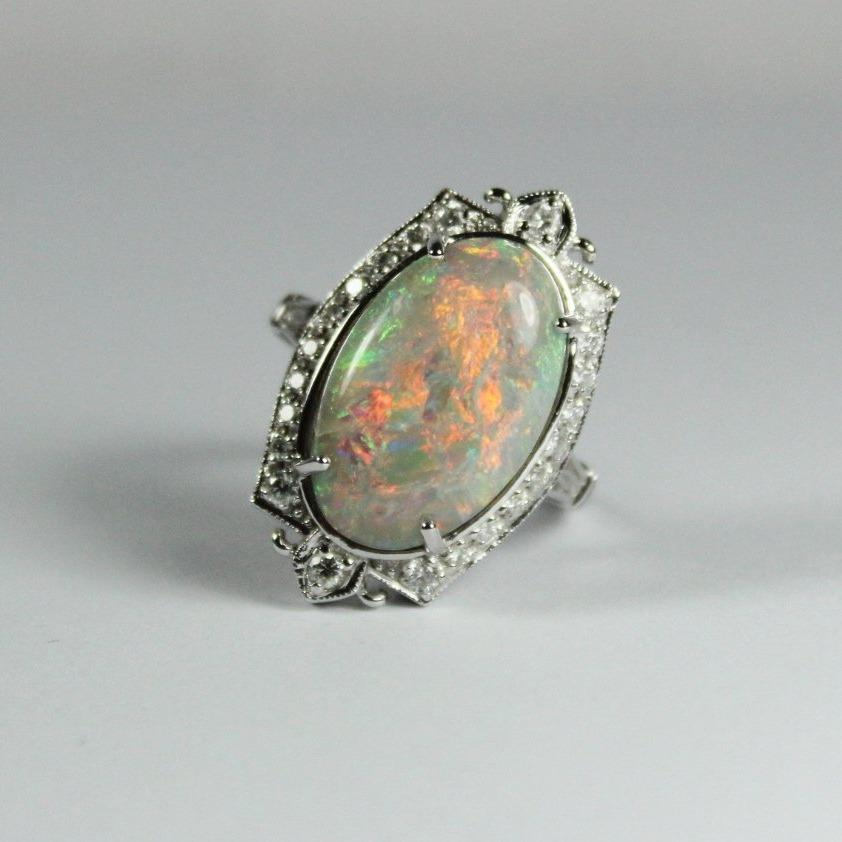 9ct White Gold Diamond and 7.72ct Opal Dress Ring