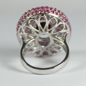 18ct White Gold 3.56ct Red Zircon and Pink Sapphire Dress Ring