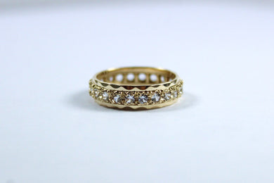 Vintage 9ct Yellow Gold White Sapphire Eternity Band