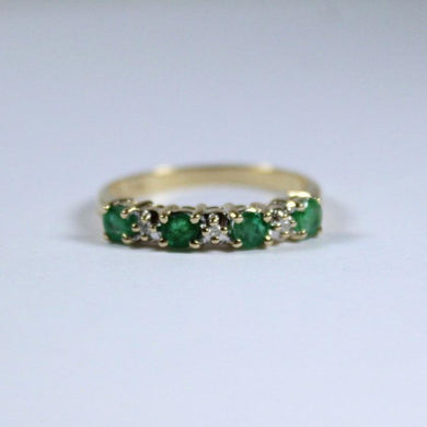 9ct Yellow Gold Emerald and Diamond Band