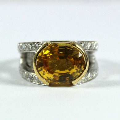 18ct White Gold 11.77ct Yellow Sapphire and Diamond Cocktail Ring