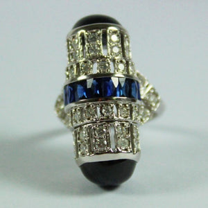 9ct White Gold Deco Style Sapphire and Diamond Barrel Cocktail Ring