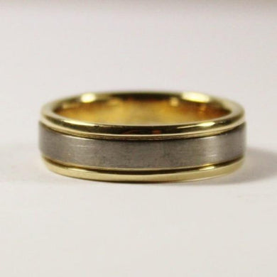 18ct Yellow Gold and Titanium Mens Wedding Band