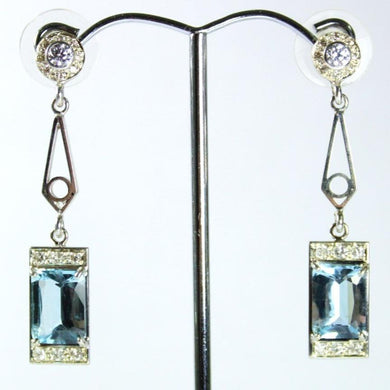 9ct White Gold Deco Style Aquamarine and Diamond Earrings
