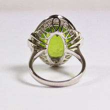 9ct White Gold 12.92ct Peridot and Diamonds Cocktail Ring