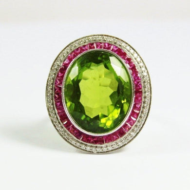 9ct White Gold Peridot, Pink Sapphire and Diamond Cocktail Ring