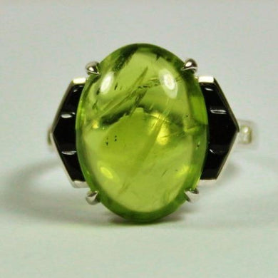 9ct White Gold Cabochon Peridot, Onyx and Diamond Cocktail Ring